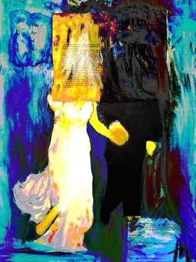 """""""art of war;"""" oil on canvas."""