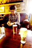 Mikael and Charles relax with a Pint in the Inn at East Coker.